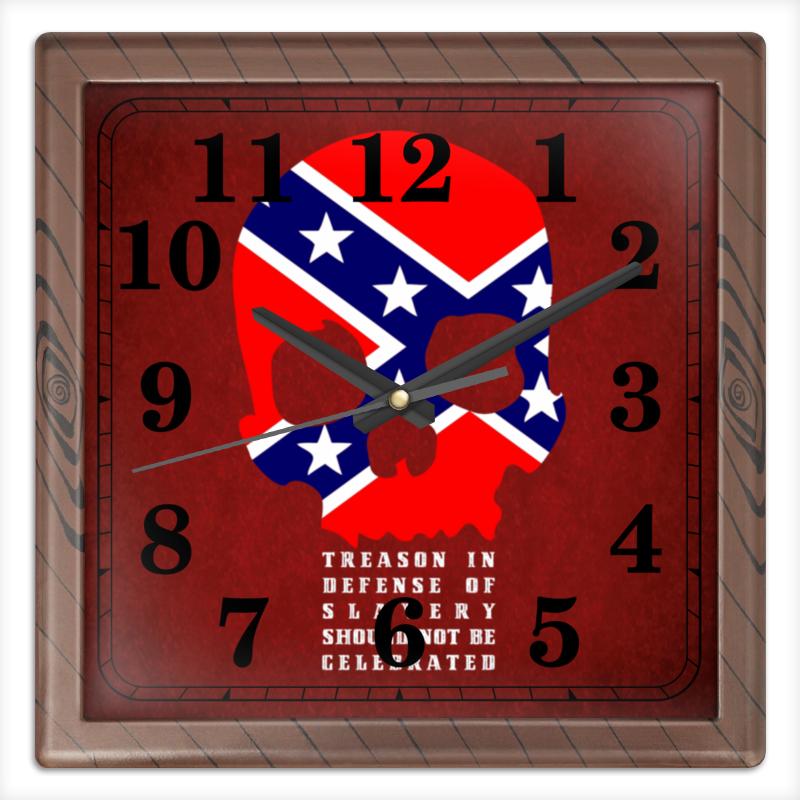 Printio Часы квадратные из пластика (под дерево) Флаг конфедерации сша printio часы квадратные из пластика под дерево часы йода