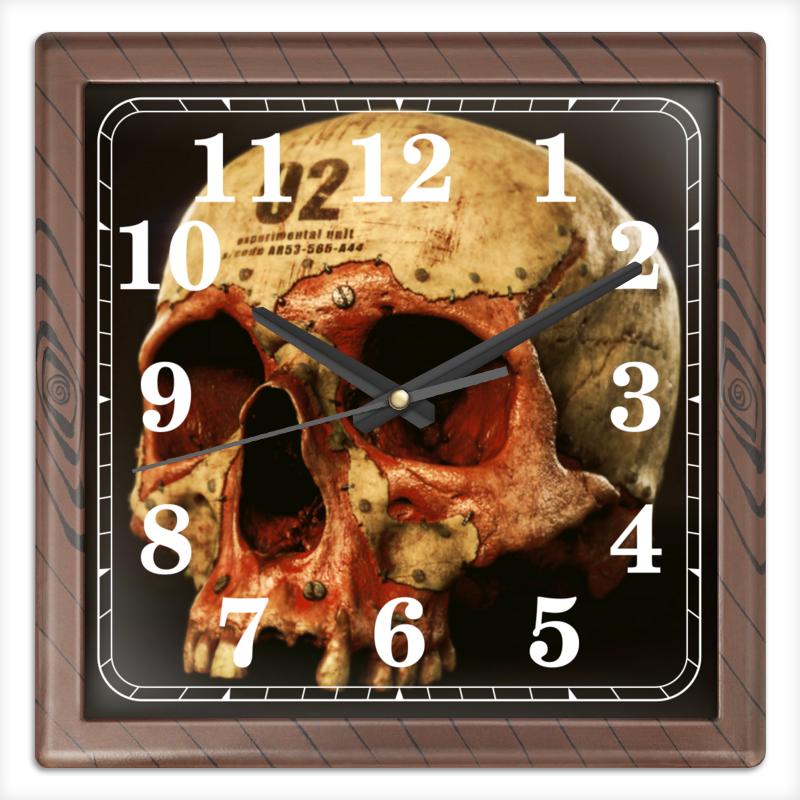 Printio Часы квадратные из пластика (под дерево) Череп 02