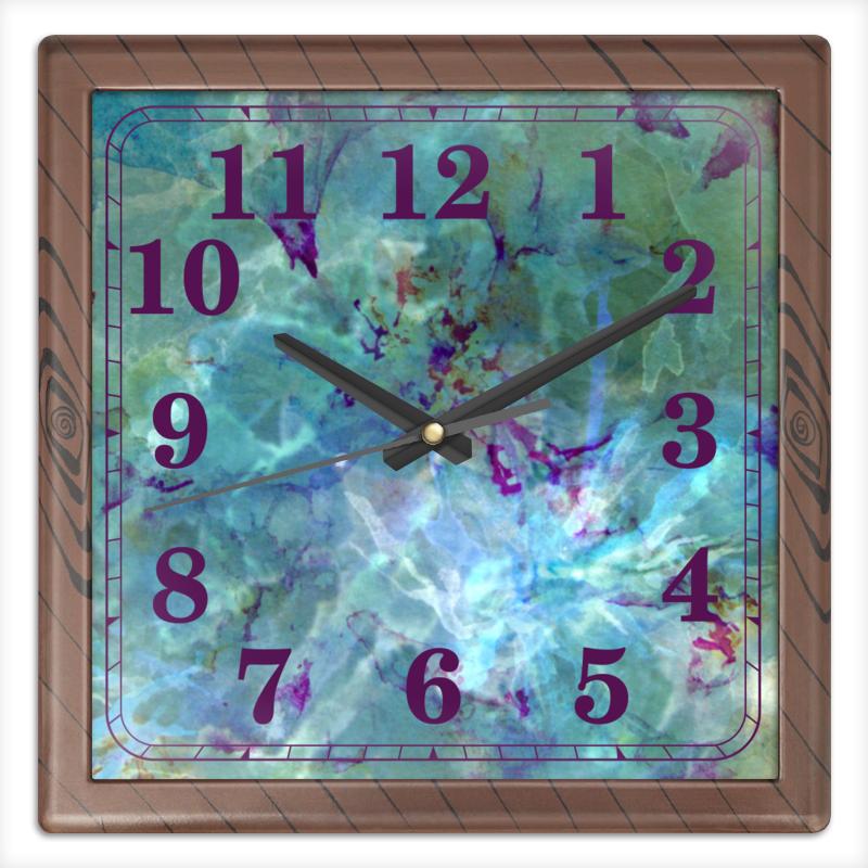 Printio Часы квадратные из пластика (под дерево) Солнце,вода,цветы. абстракция