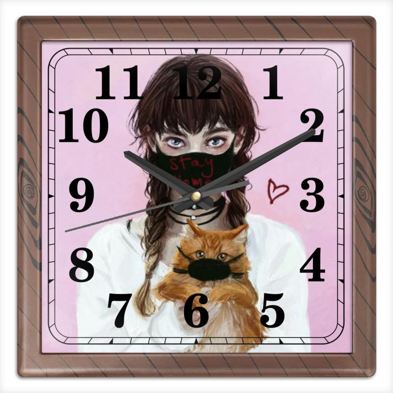 Printio Часы квадратные из пластика (под дерево) Останься дома