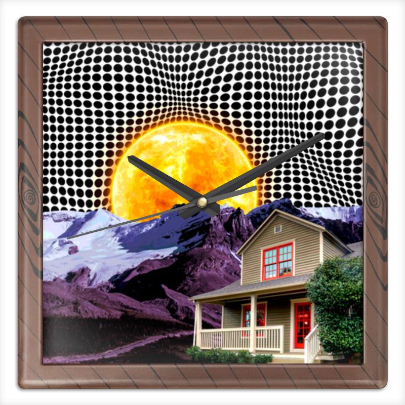 Printio Часы квадратные из пластика (под дерево) Солнце
