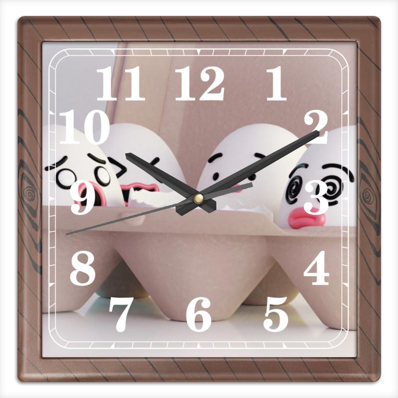 Printio Часы квадратные из пластика (под дерево) Травмированные яйца