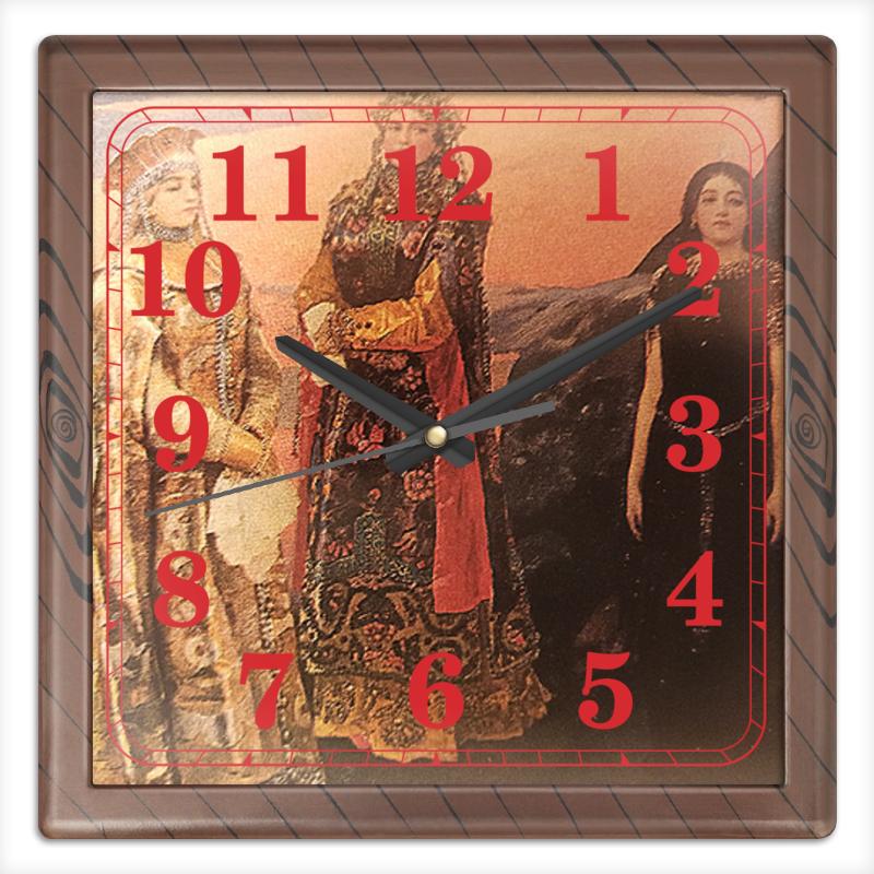 Printio Часы квадратные из пластика (под дерево) Три царевны подземного царства.