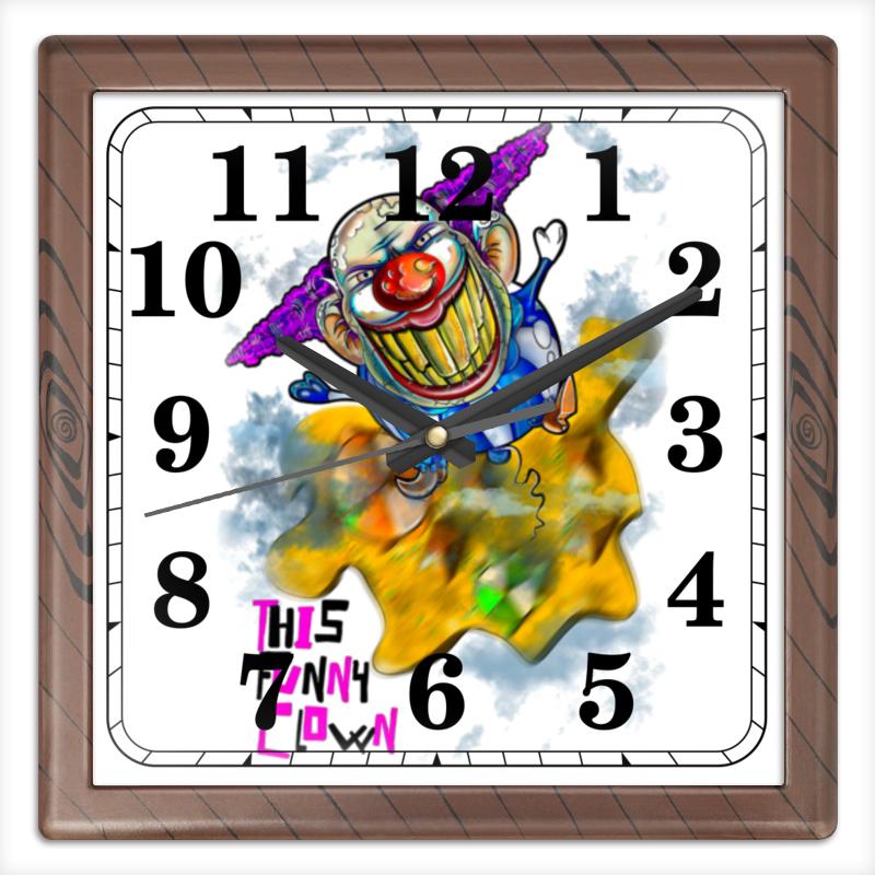 Printio Часы квадратные из пластика (под дерево) Смешной клоун printio часы квадратные из пластика под дерево разводы красок