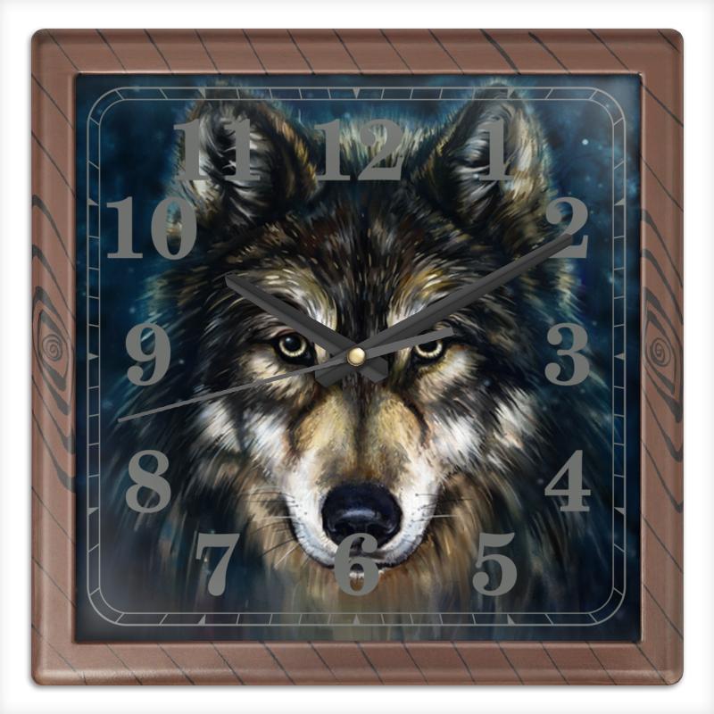 Printio Часы квадратные из пластика (под дерево) Волки фэнтези. седой волк printio рюкзак 3d волки фэнтези седой волк