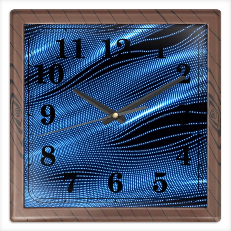 Printio Часы квадратные из пластика (под дерево) Звуковые волны