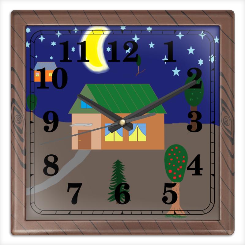 Printio Часы квадратные из пластика (под дерево) Рисунок вечер в деревне printio часы квадратные из пластика под дерево разводы красок