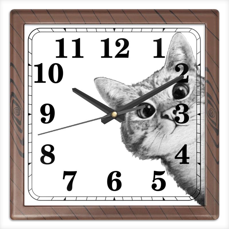 Printio Часы квадратные из пластика (под дерево) Любопытный кот printio часы квадратные из пластика под дерево разводы красок
