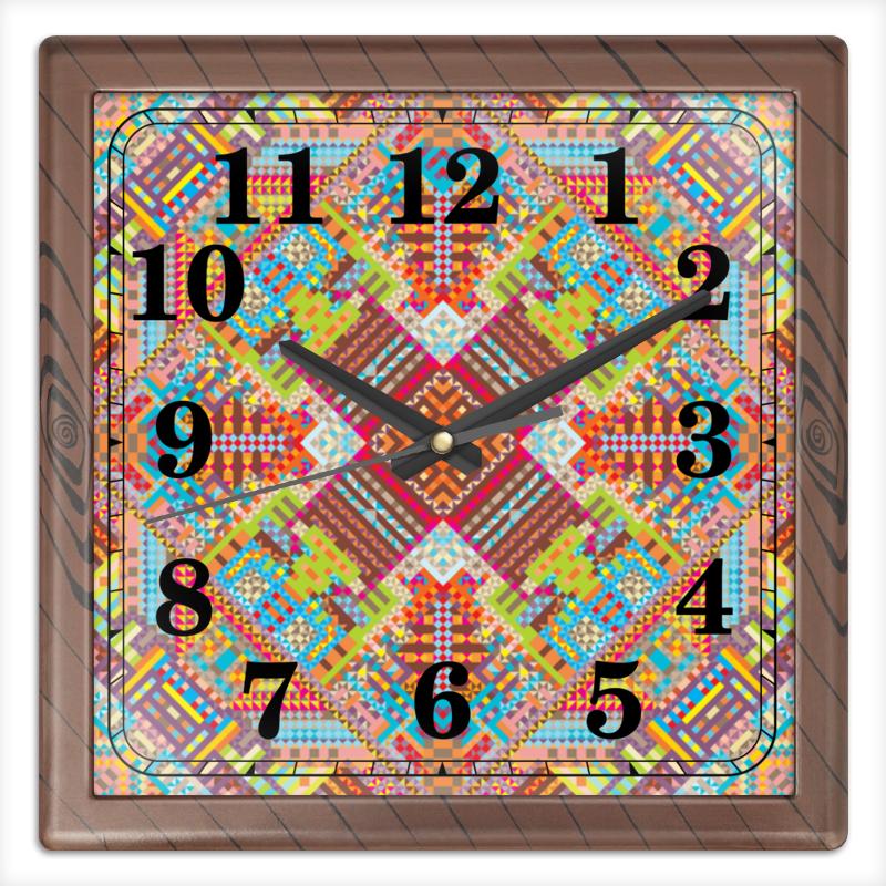 Printio Часы квадратные из пластика (под дерево) с абстрактным рисунком printio сумка с абстрактным рисунком