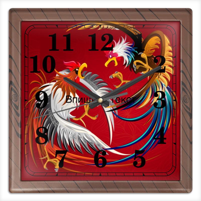 Printio Часы квадратные из пластика (под дерево) Новый год 2017 printio часы квадратные из пластика под дерево часы йода