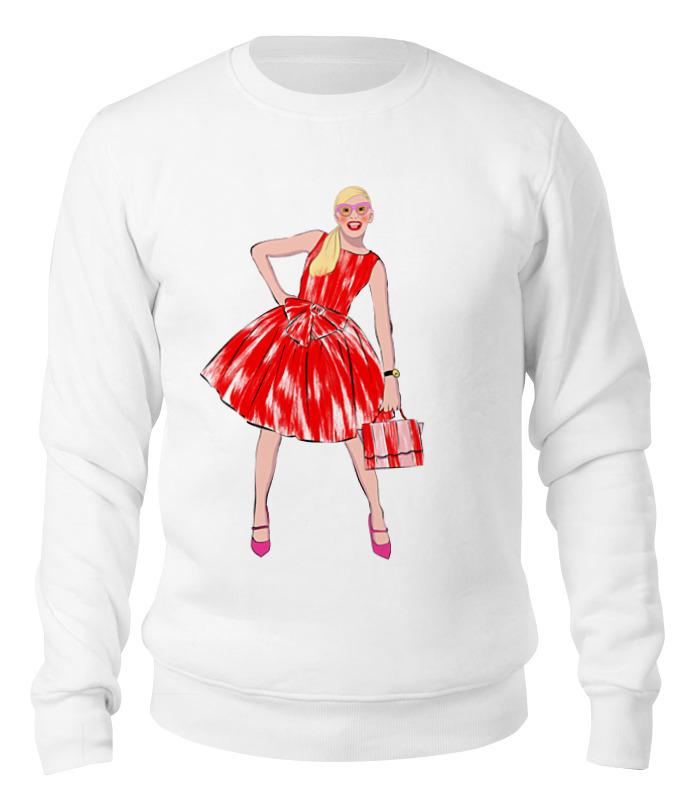 Printio Свитшот унисекс хлопковый Девушка в красном платье