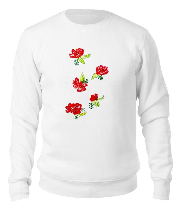 Printio Свитшот унисекс хлопковый Свитшот красные цветы