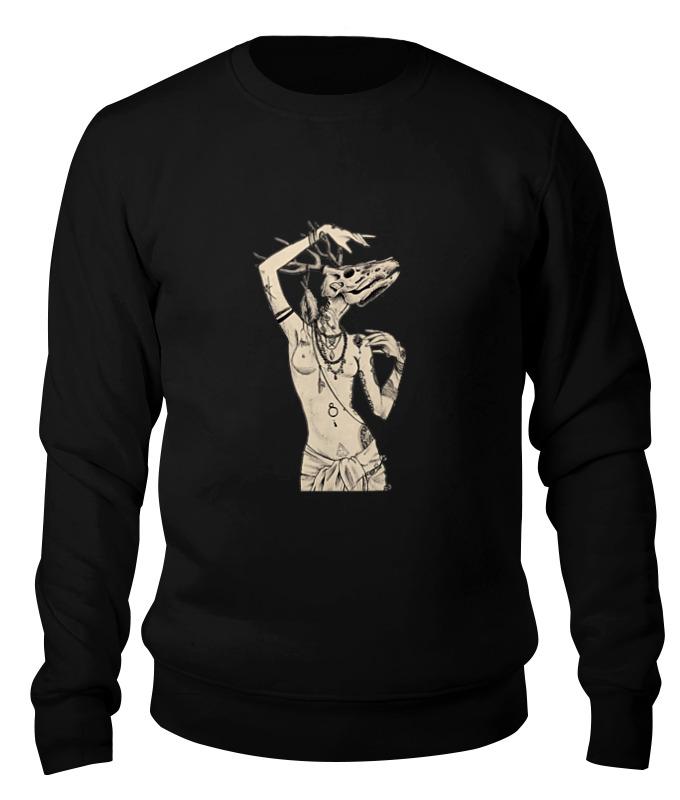 Printio Свитшот унисекс хлопковый Девушка с черепом оленя
