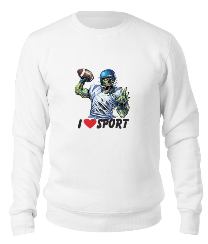 Printio Свитшот унисекс хлопковый Зомби спорт - я люблю спорт