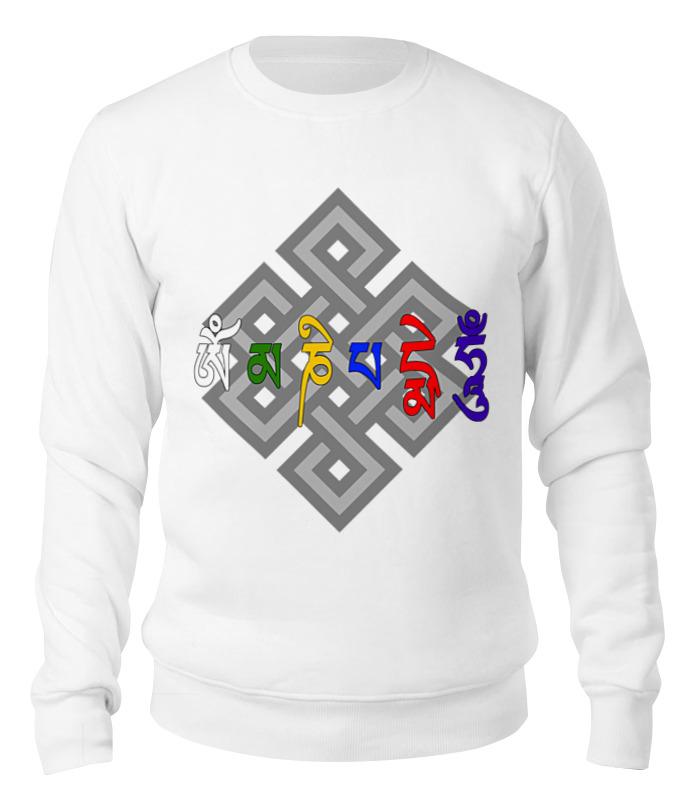 Printio Свитшот унисекс хлопковый Ом мани падме хум мантра (разноцветные буквы)
