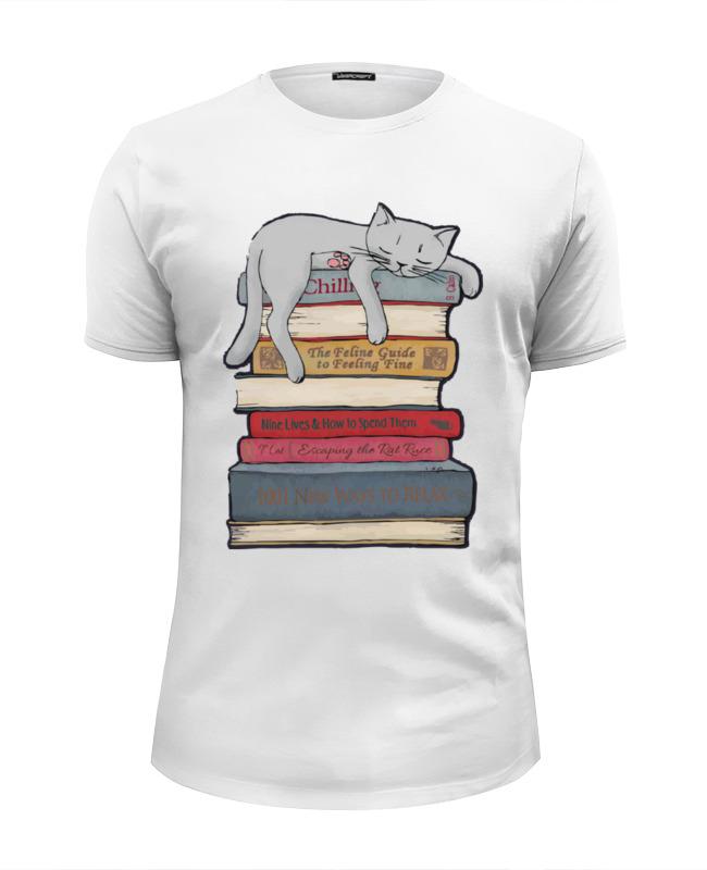 Printio Футболка Wearcraft Premium Slim Fit Кот и книги printio футболка wearcraft premium котэ мститель