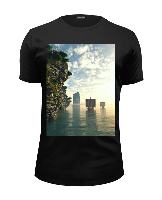 футболка wearcraft premium slim fit printio русские идут Printio Футболка Wearcraft Premium Slim Fit Драккары идут