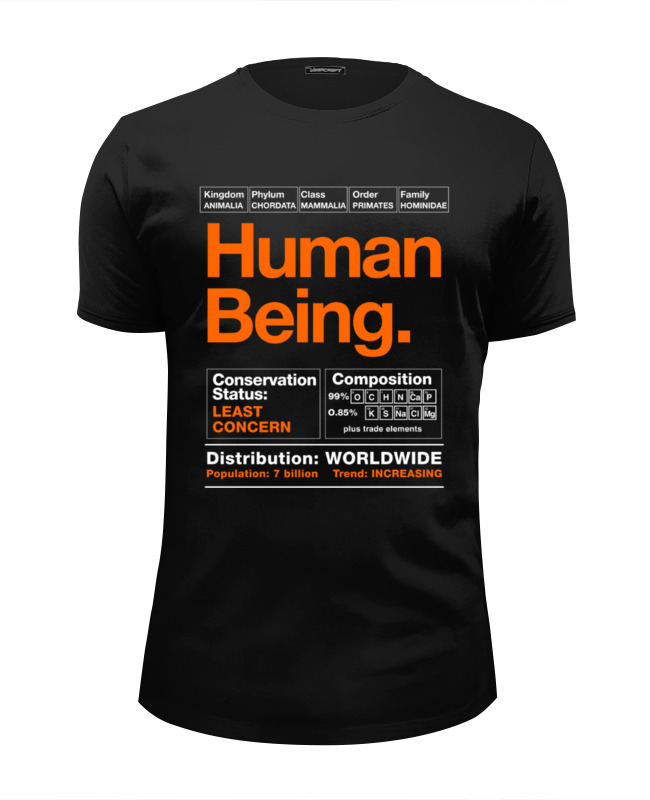 Printio Футболка Wearcraft Premium Slim Fit Human being printio толстовка wearcraft premium унисекс human being