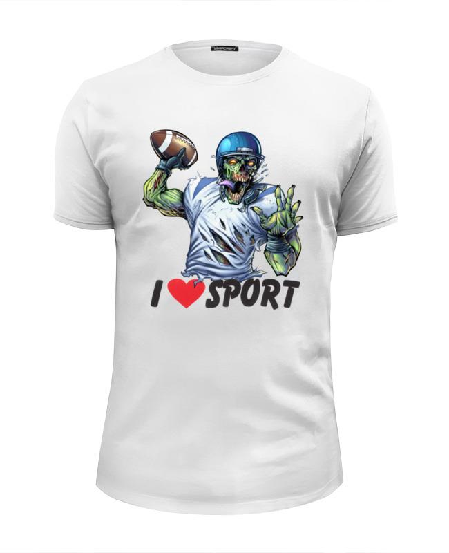 Printio Футболка Wearcraft Premium Slim Fit Зомби спорт - я люблю спорт