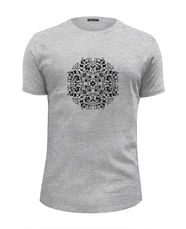 Printio Футболка Wearcraft Premium Slim Fit Круговой цветочный орнамент printio футболка wearcraft premium горы в стиле минимализма