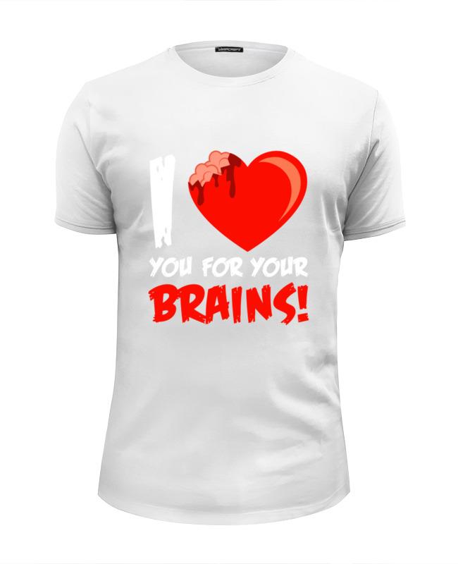 Printio Футболка Wearcraft Premium Slim Fit I love brains (zombie) недорого