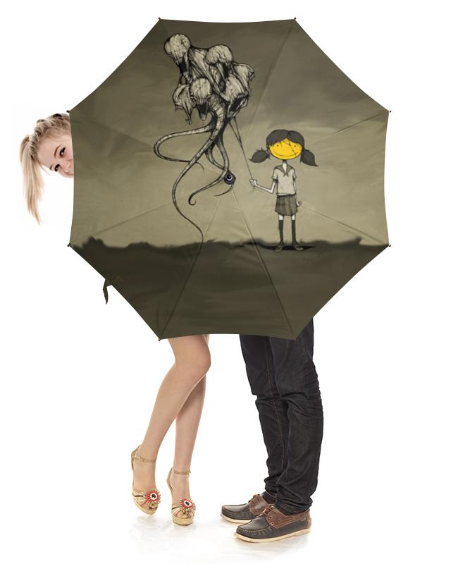 Printio Зонт-трость с деревянной ручкой Девочка с шарами