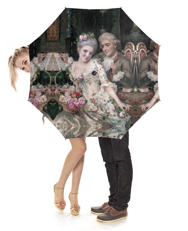 Printio Зонт-трость с деревянной ручкой A new basket of flowers (федерико андреотти)
