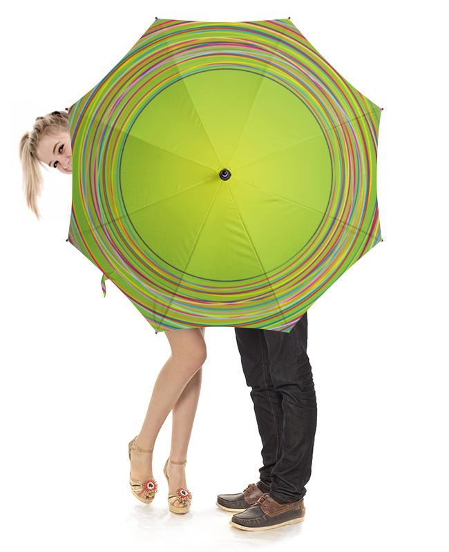 Printio Зонт-трость с деревянной ручкой Разноцветные круги