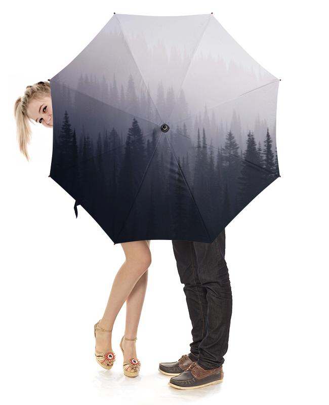 Printio Зонт-трость с деревянной ручкой Лес в тумане