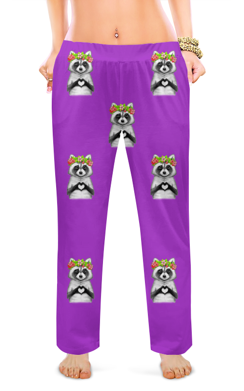 printio женские пижамные штаны молочный шоколад Printio Женские пижамные штаны Енотики