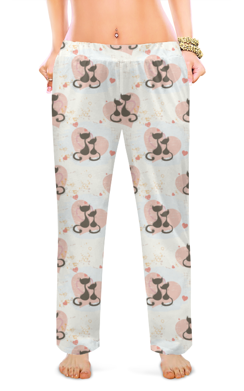 printio женские пижамные штаны молочный шоколад Printio Женские пижамные штаны Кошечки