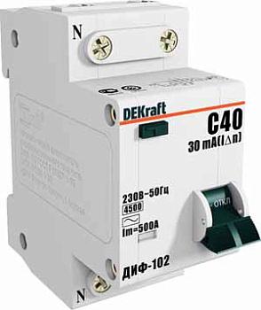 Изображение Дифференциальный автомат 1Р+N 25А 30мА тип AC х-ка С ДИФ-102 4,5кА