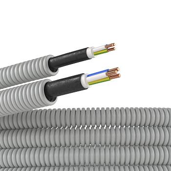 "Изображение Электротруба ПВХ гибкая гофр. д.16мм, цвет серый, с кабелем ВВГнг(А)-LS 3х2,5мм² РЭК ""ГОСТ+"", 50м"