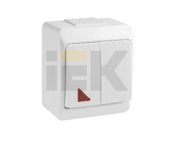 """Изображение Выключатель 2 клавишный накладной с подсветкой белый ВС20-2-1-ГБ IP44 """"ГЕРМЕС"""""""