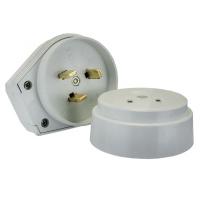 Разъем РШ-ВШ 32А 250В 2P+PE (ОУ) пластиковый бел. EKF PROxima