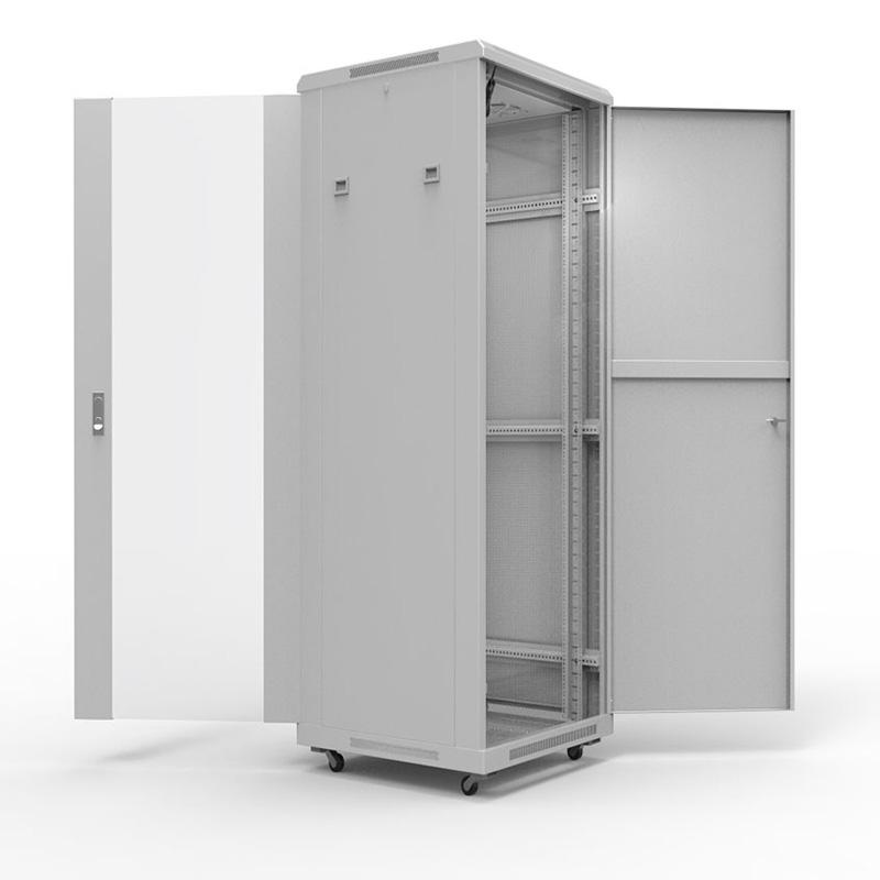 """19"""" Напольный шкаф серии Standart 27U 600х1000 мм, передняя дверь стекло, задняя дверь металл, RAL 7035 REXANT"""
