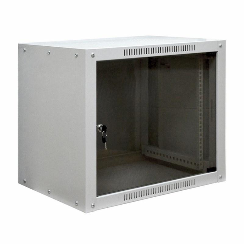 """19"""" Настенный шкаф Proconnect 6U 600×600×370 (ШxГxВ) -передняя дверь стекло боковые стенки не съемные (разобранный), RAL 7035"""