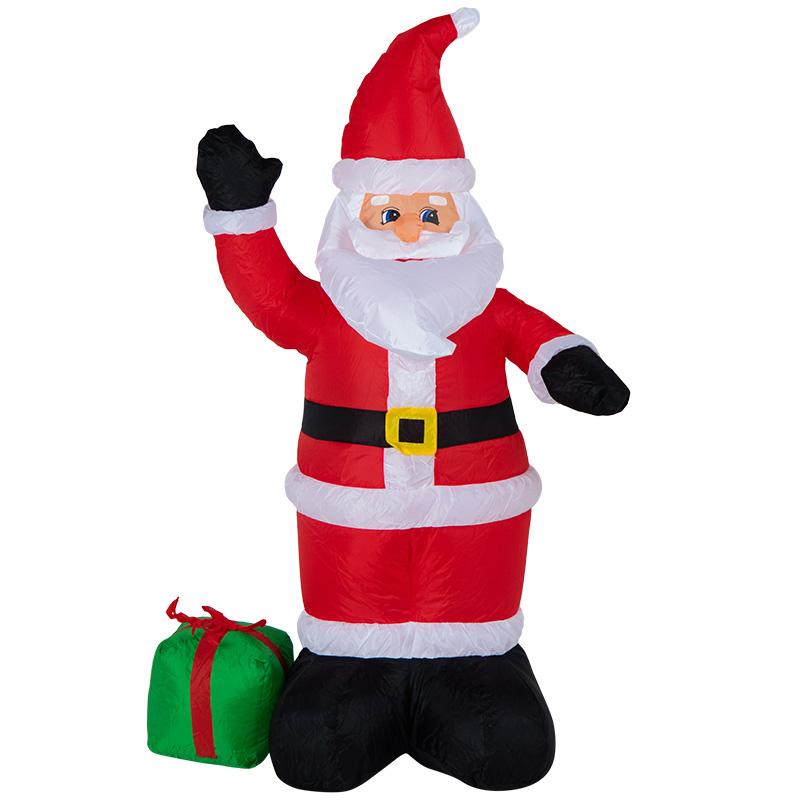 """3D фигура надувная """"Дед Мороз с подарком"""", размер 120 см, внутренняя подсветка 3 LED, компрессор с адаптером 12В, IP 65  NEON-NIGHT"""