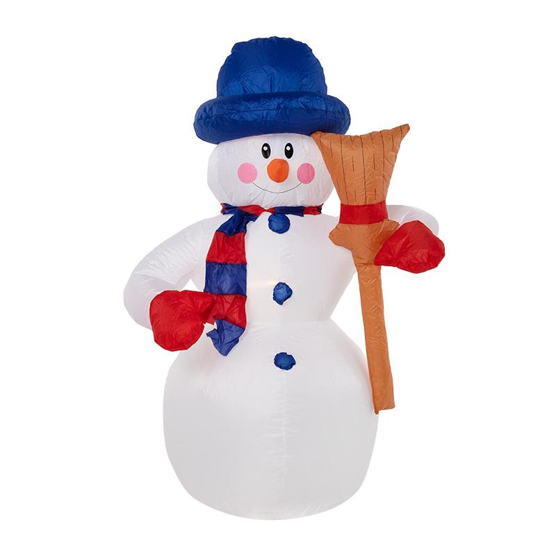 """3D фигура надувная """"Снеговик с метлой"""", размер 180 см, внутренняя подсветка 4 LED, компрессор с адаптером 12В, IP 65  NEON-NIGHT"""