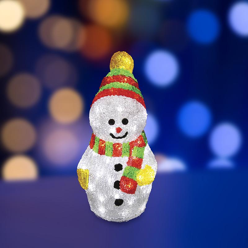 """Акриловая светодиодная фигура """"Снеговик с шарфом"""" 30 см, 40 светодиодов, IP 65, понижающий трансформатор в комплекте, NEON-NIGHT"""
