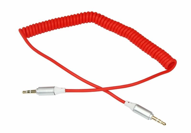 Аудиокабель AUX 3.5 мм шнур спираль 1 м красный