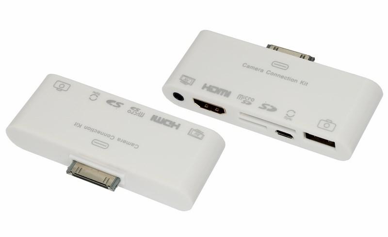 AV адаптер 6 в 1 для iPhone 4/4S на HDMI, USB, microSD, SD, 3.5 мм, microUSB