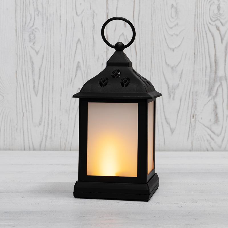 Декоративный фонарь 11х11х22,5 см, черный корпус, теплый белый цвет свечения с эффектом пламени свечи NEON-NIGHT