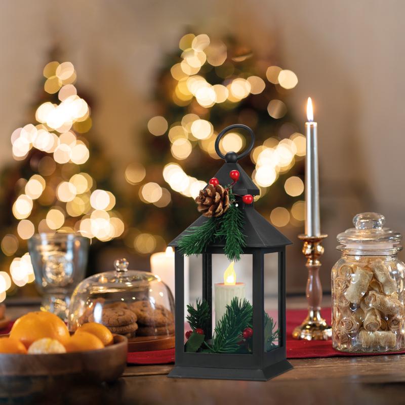 Декоративный фонарь со свечкой и шишкой, черный корпус, размер 10,7x10,7x23,5 см, цвет теплый белый