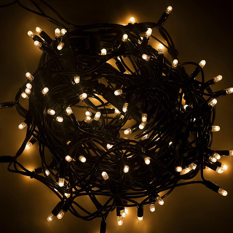 Дюраплей 10 м, черный каучук, 100 LED, цвет белый/теплый белый, Flashing (каждый 6 диод), 24 В