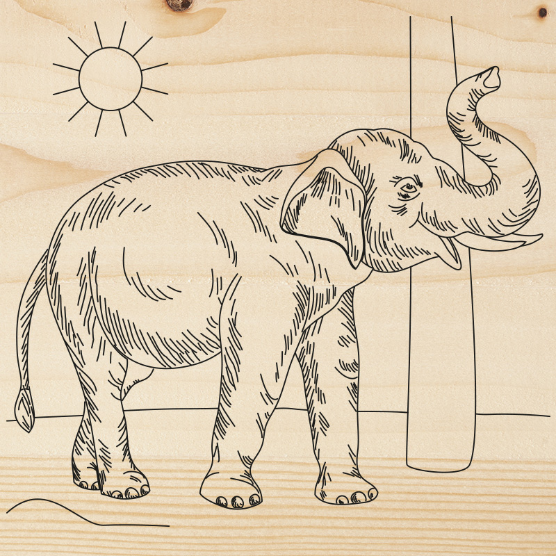 Доска для выжигания REXANT, «Слон», 150х150 мм, 1 шт., пакет