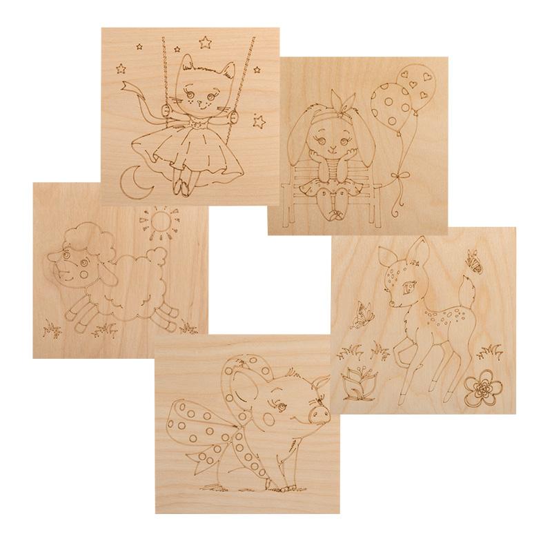 Доски для выжигания REXANT, «Малыши зверята», 150х150 мм, 5 шт., пакет