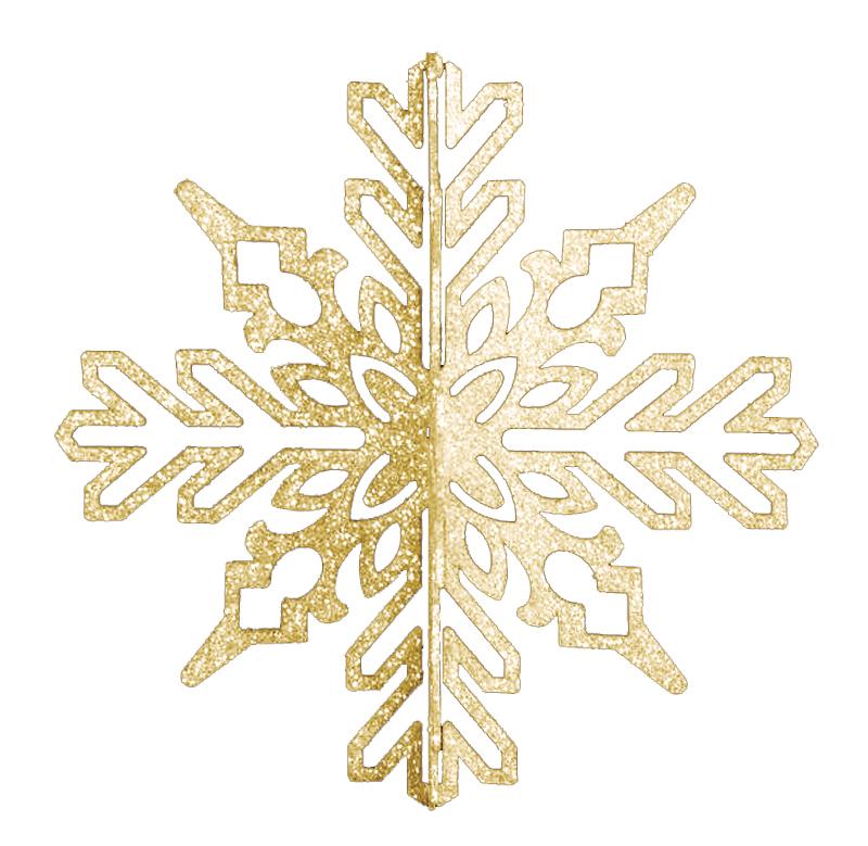 """Елочная фигура """"Снежинка ажурная 3D"""", 23 см, цвет золотой"""