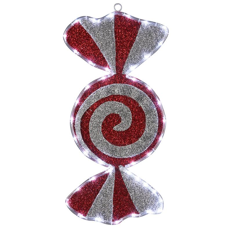 """Фигура """"Карамель"""" бархатная, размеры 60*30 см (42 БЕЛЫХ светодиодов)"""