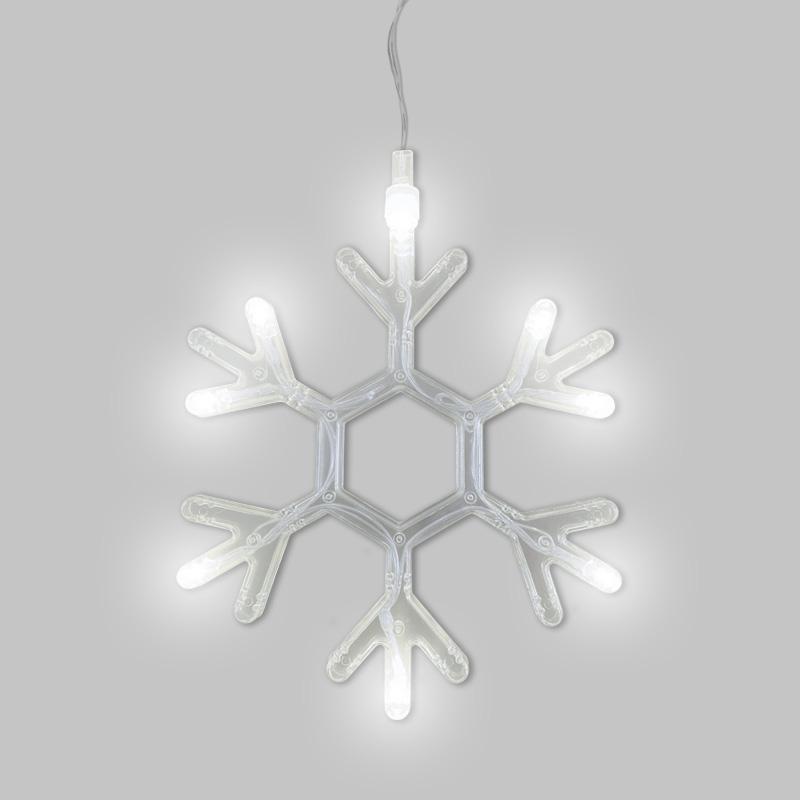 Фигура светодиодная «Снежинка» на присоске с подвесом, цвет белый